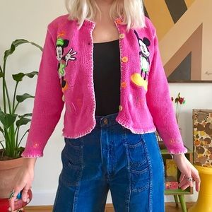 Vintage 90s pink Mickey and Minnie Mouse sweater S